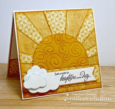 handmade card from Rocky Mountain Paper Crafts: Freshly Made Sketches #73 ... sunburst design ... luv the stacked clouds on the sentiment banner ... great use of sponging on edges of rays and to highlight raised parts of swirly embossing on sun body ... beautiful card ...