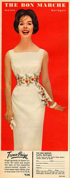Teena Paige White Dress with embroidered sash 1960