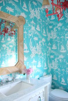Thibaut's South Sea wallpaper in turquoise | Jenny Wolf Interiors