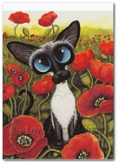 Siamese Cat Poppies Art Prints & ACEOs by Bihrle por AmyLynBihrle