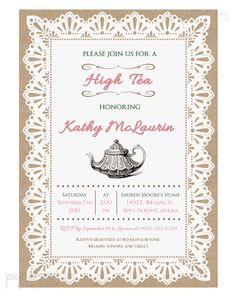 Lace Burlap High Tea Invitation Tea Party Printable by pegsprints