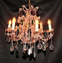 Antiques Atlas - Crystal Chandelier French Chandelier, Antique Chandelier, Ceiling Lights, Crystals, Antiques, Glass, Color, Home Decor, Old Chandelier