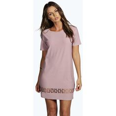 Boohoo Miley Laser Cut Shift Dress ($20) ❤ liked on Polyvore featuring dresses, mauve, brown maxi dress, slip dress, polka dot maxi dress, polka dot dress and boho dress