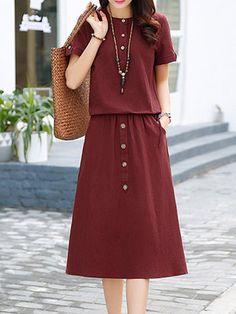 Women Buttoned Pockets Linen A-line Solid Midi Dress Retro Fashion, Womens Fashion, Fashion 2017, Fashion Brands, Iranian Women Fashion, Spring Dresses Casual, Clothing Hacks, Mode Hijab, Women's Fashion Dresses