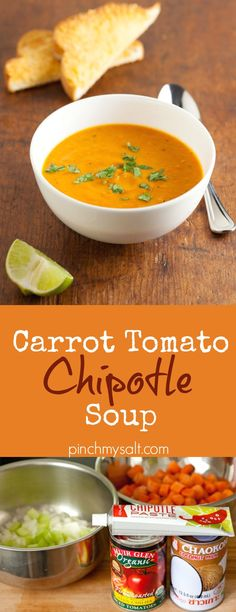 This easy and healthy homemade creamy tomato soup with carrots, chipotle, and coconut milk is a delicious way to upgrade your tomato soup and grilled cheese nights! | pinchmysalt.com