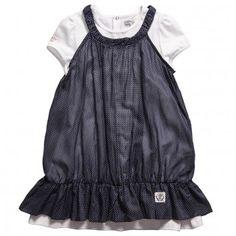 IKKS Girls Navy Blue Polka Dot Pinafore Dress & Top 2 Piece Set at Childrensalon.com