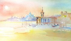 """Sunset in Venice "" Original Watercolour painting -9 x 5 ins (23 x 14 cm) Unframed   Inspired by evening light on the harbour water in Venice, Italy, with a view of the famous baroque church ""Santa Maria Della Salute"" in the background . A gondola make its way home through the harbour of liquid gold,"