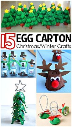How to make these 15 egg carton Christmas and winter crafts for your kids to make in their spare time. Christmas/Winter Egg Carton Crafts for Kids - Crafty Morning Preschool Christmas, Easy Christmas Crafts, Christmas Activities, Christmas Projects, Kids Christmas, Christmas Ornaments, Christmas Morning, Origami Christmas, Christmas Traditions