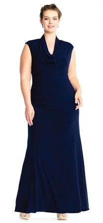 b68b3596d1f4 Adrianna Papell Cowl Neck Jersey Gown With Shirred Skirt 18 Midnight Dress
