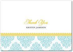 Paisley Damask - Folded Thank You Cards - Blue Ribbon Design - Teal - Blue | www.TinyPrints.com