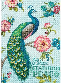 Dimensions Blue Peacock - Gold Collection Petites Cross Stitch Kit. This Gold Collection Petites cross stitch kit contains 18-count Aida fabric, pre-sorted six-