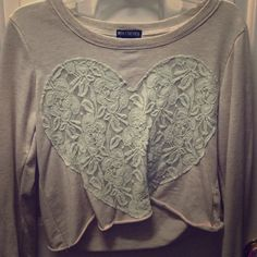 Lacy heart crop top Adorable thin long sleeve crop top! Worn once!! Miss chievous Tops Crop Tops