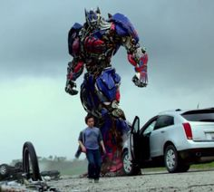 """Thanks kid."" XD The kid gave Optimus an Oreo, it was an Oreo commercial :D"