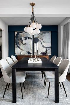 contemporary dining room design, modern dining room design with white walls, modern dining room table, modern dining room chairs and modern chandelier, neutral dining room decor Black And White Dining Room, Dining Room Blue, Dining Room Wall Decor, Dining Room Design, Contemporary Dining Rooms, Contemporary Design, White Dining Rooms, Formal Dining Rooms, Navy Blue Dining Chairs