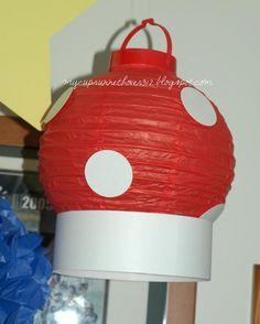 MARIO KART PARTY - mushrooms made from paper lanterns