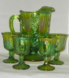 Indiana Glass Green Carnival Harvest (Grape & Leaf) Pitcher with Goblets~Gorgeous collectibles!