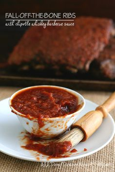 The Best Low Carb Barbecue Ribs! With sugar-free Chipotle Whiskey Barbecue Sauce. So tender, the meat falls right off the bone.