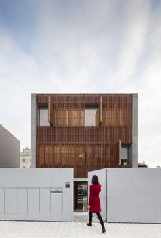 Beton, Boden, Wand, Holzlamellen, Fenster, Front, Porto, Seiqueros Architekten, Siebzigerjahre, Reduktion, Minimalismus, window, front, concrete, lines, clear, minimalism