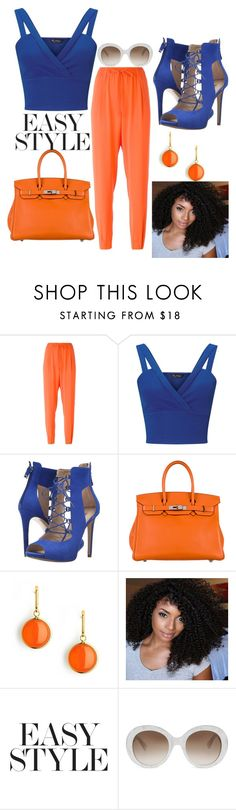 """Blue and Orange"" by zeniboo ❤ liked on Polyvore featuring Polo Ralph Lauren, Miss Selfridge, GUESS, Hermès, Syna and Gucci"