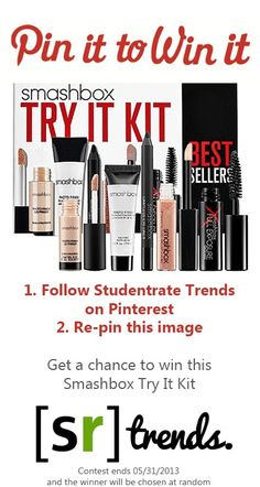 Pin it to Win a Smashbox Try It kit !! 1. Follow Studentrate Trends  on Pinterest @ http://pinterest.com/studentrate/ 2. Re-pin this image Winner will be chosen at random on 06/01/2013