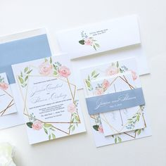 We love a good mix of modern and romantic! The geometric shapes pair perfectly with the blush and pink flowers. A printed gold frame allows the florals to cascade in the most elegant way. The dusty blue envelope liner and belly band bring out the blue in the leaves. Vibrant print colors and exceptional quality. Blush Paperie. Boho Wedding, Garden Wedding, Vintage Wedding, Dusty Blue Wedding, Romantic Wedding, Floral Wedding, Pink and Gold Wedding, Pink Flowers Wedding, Geometric Wedding…
