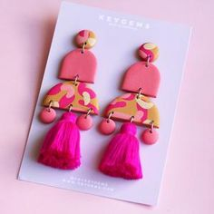 Keygems is a jewellery brand showcasing pieces made using a variety of methods, materials and styles. Diy Earrings Polymer Clay, Fimo Clay, Polymer Clay Crafts, Funky Earrings, Statement Earrings, Biscuit, 40s Hair, Cute Clay, Paper Jewelry