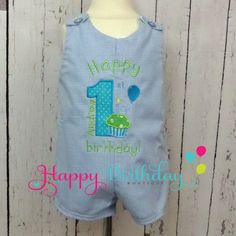 Boys Personalized Cupcake Number Shortalls