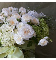 Wedding Centerpiece of Roses and Hydrangeas
