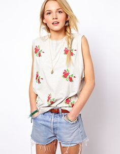 ASOS Tank with Embroidered Flowers