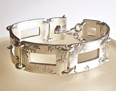 Fine Silver Bracelet with rectangle cutouts by GersemieDesigns, £93.00