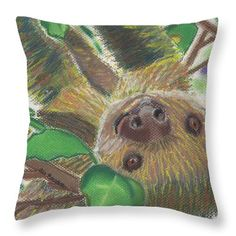 """Fine Art America offers prints of my artwork on all sorts of merchandise. Doesn't """"Suzie Sloth"""" look cute on a throw pillow?"""
