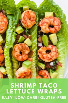 A quick and easy recipe for shrimp taco lettuce wraps. These are a great low-carb gluten-free alternative to traditional shrimp tacos. Healthy Wraps, Good Healthy Recipes, Healthy Foods To Eat, Low Carb Recipes, Healthy Eating, Dog Recipes, Recipies, Shrimp Lettuce Wraps, Lettuce Tacos