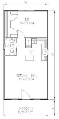 istockhouseplans - The Albina 1632 Tiny House Plan - 1 bed, 1 bath, 512 square feet, 300 square foot loft