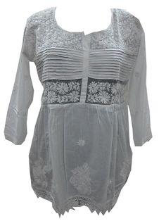 Womens Kurti Tunic Top Chikan Embroidered Casual Kurta Blouse Small Size