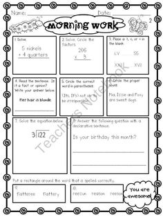 **BUNDLED SET** Daily Morning Work- Sets 1-4 from Loving and Learning on TeachersNotebook.com (167 pages)