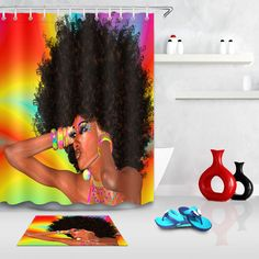 Afro-Hair-African-Girl Fabric Shower Curtain Liner Set Bathroom Accessories Mat | eBay Cool Shower Curtains, Shower Curtain Sizes, Bathroom Mat, Bathroom Colors, Diy Bathroom Decor, Bathroom Ideas, Bathroom Stuff, Bath Decor, African Girl