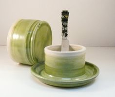 Green French Butter Dish  IN STOCK  Ceramic by BlueSkyPotteryCO, $49.00