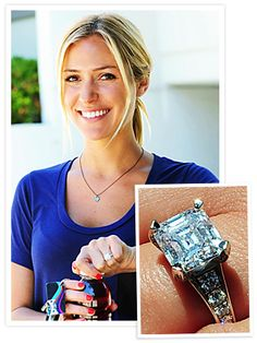Kristin Cavallari -- Asscher center with 10 round side diamonds.