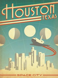 Anderson Design Group Poster Print Wall Art Print entitled Houston, Texas: Space City, None Art Deco Posters, Vintage Films, Vintage Travel Posters, Space Posters, Houston Texas, Houston Skyline, Texas Usa, Space City, Photo Vintage