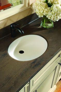 Khaki Coda Solid Surface Vanity Top With Denova Vitreous China Undermount Oval Sink Ogee Edge