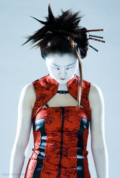 Modern day Geisha avantgarde RED dress by Plastik by PlastikWrap