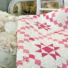 Teaberry Stars - Pink and White Irish Chain Style Quilt Pattern by Marcie Patch. Love the polka dot background!