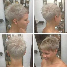 Super short and casual! Are these cool short hairstyles maybe something for you? – New hairstyle - Thin Hair Cuts Super Short Hair, Short Grey Hair, Short Blonde, Cool Short Hairstyles, Short Pixie Haircuts, Pixie Hairstyles, Blonde Hairstyles, Hairstyle Short, Casual Hairstyles
