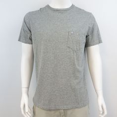DKNY Men's Size Large Gray Short Sleeve One Pocket Cotton T-Shirt M339 #DKNY #BasicTee