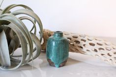 Lovely handmade ceramic vase with beautiful thick turquoise blue glaze with unfinished bottom. D    - dip dyed    - bottom signed rene