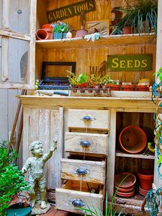 Multipurpose Display, an antique armoire turned into a stunning water feature and potting bench. The top of the armoire holds containers, seeds, and tools, as well as display small potted plants. The drawers of the armoire offered a perfect water feature. Garden Spaces, Garden Pots, Garden Sheds, Garden Benches, Garden Trellis, Outdoor Projects, Garden Projects, Diy Projects, Outdoor Rooms