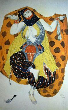 «Одалиска. Эскиз костюма к балету «Шехеразада» на музыку Н.А.Римского-Корсакова» 1910 Бумага, графитный карандаш, акварель, гуашь, серебро Частное собрание за рубежом