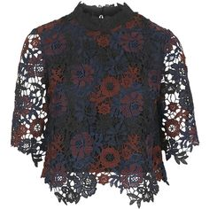 TOPSHOP Lace High Neck Top ($80) ❤ liked on Polyvore featuring tops, black, topshop, high neck top, sheer sleeve top, black crop top and topshop tops
