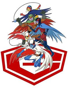 'Science Ninja Team Gatchaman' Photographic Print by Hizodesign. Comic Book Heroes, Comic Books Art, Comic Art, Book Art, Manga Anime, Japanese Superheroes, Battle Of The Planets, Marvel Tattoos, Sci Fi Armor