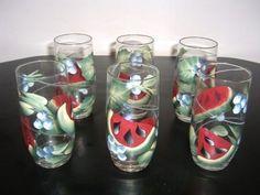 One stroke painting - Watermelon glasses